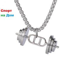 """Цепочка с кулоном """"штанга"""" (цвет-серебро), фото 2"""