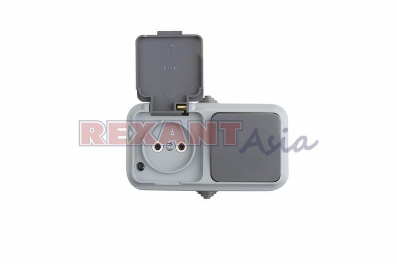 Выключатель одноклавишный + розетка, влагозащищенная для открытой установки, IP54 (78-0527) Rexant