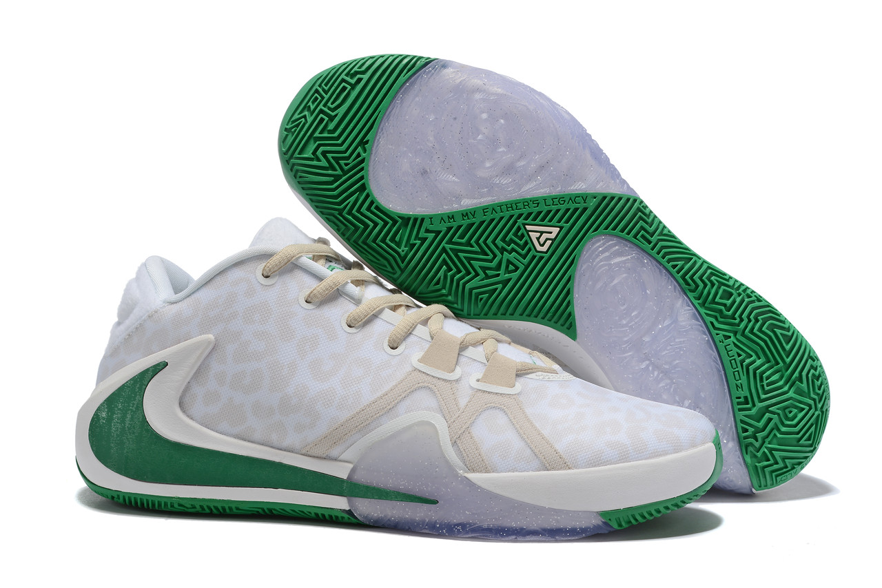 "Баскетбольные кроссовки Zoom Freak 1 ""White-Green"" from Giannis Adetokunbo"