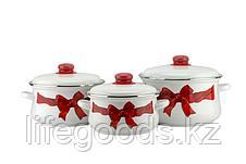 """Набор эмалированной посуды из 3-х кастрюль (2л, 3л, 4л), """"Бант"""" 7-316/4, фото 3"""