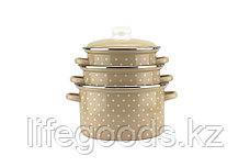 """Набор эмалированной посуды из 3-х кастрюль (2л, 3л, 4л), """"Горох"""" 2-3153/4, фото 3"""