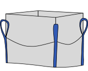 Биг-бэг 72,5х72,5х170, 4 стропы, плотность 180г/м2, с верхней сборкой