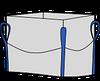 Биг-бэг 72,5х72,5х200, 4 стропы, плотность 220г/м2, с верхней сборкой