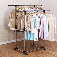Вешалка для одежды напольная двойная, регулируемая 87-150x68x100-165 см, Youlite, фото 1