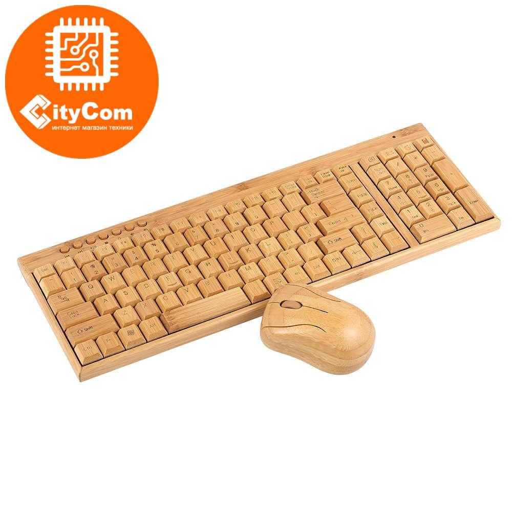 Беспроводная бамбуковая клавиатура + мышь, мини. Деревянная. Арт.1573