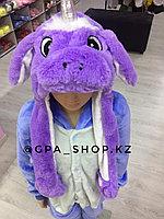 Шапка единорог фиолетовый светящаяся, ушки поднимаются