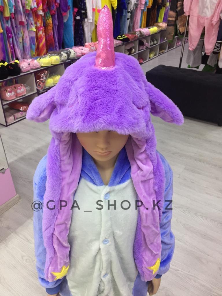 Шапка единорог фиолетовый светится, ушки поднимаются