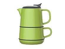 Набор ArtiArt (кружка, чайник + блюдце; зелёный)