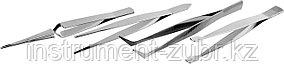Набор ЗУБР: Пинцеты прямой, заостренные губки, изогнутый, самозажимной прямой, плоские и широкие губки, 120мм, фото 2