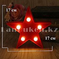 Светильник Звезда ночник красная звезда 17 x 17 см 5 ламп (на батарейках)