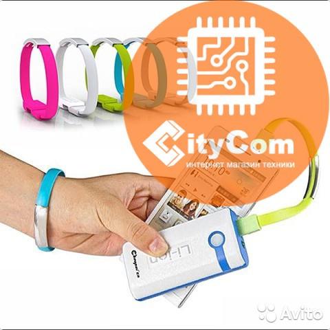 Кабель USB to Micro USB cable, цветной силиконовый браслет
