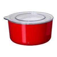 Емкость с крышкой ЛЬЮСТ, красный, прозрачный, ИКЕА, IKEA, фото 1
