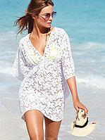 Пляжное белое платье сетка