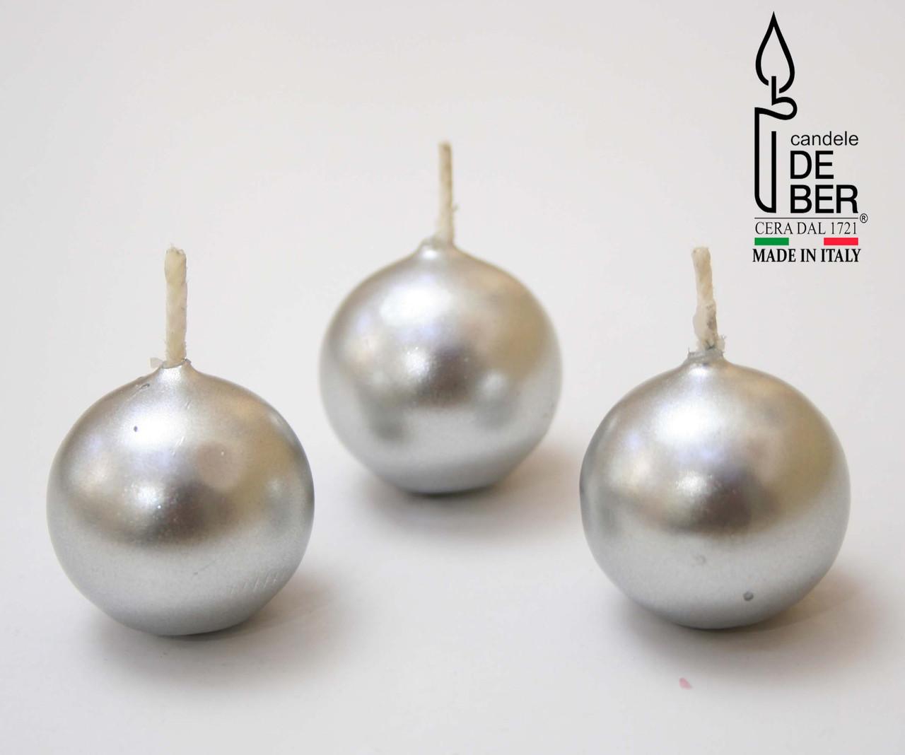 Свеча круглая Silver. Ручная работа, Италия