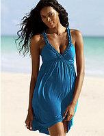Пляжное голубое платье