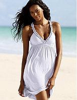 Пляжное летнее белое платье из хлопка
