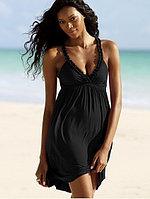 Черное летнее платье-хлопок