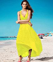 Жёлтое длинное платье-хлопок
