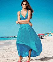 Голубое длинное летнее платье-хлопок