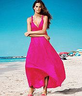 Розовое длинное платье-хлопок