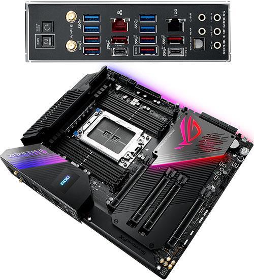 Материнская плата ASUS ROG  Zenith II Extreme MB Socket STRX4, E-ATX, AMD TRX40 (SB, GNIC,) 8DDR4, 4PCIx16