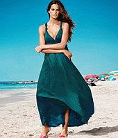 Зеленое платье в пол-хлопок,летнее