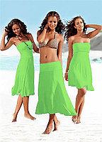 Салатовое платье трансформер-яркое-хлопок