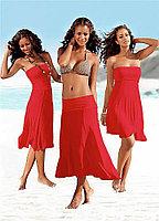 Красное платье трансформер-хлопок