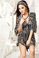 Пляжное платье-туника павлин