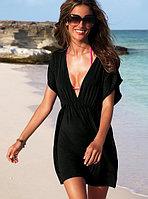 Пляжное черное платье-туника
