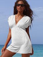 Белое пляжное платье-туника