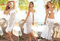Пляжное платье сетка,белое-трансформер
