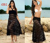 Черное пляжное платье сетка-трансформер