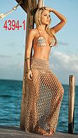 Бежевое пляжное платье крупная сетка