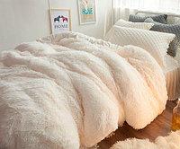 Плед-пододеяльник с длинным ворсом «Двухсторонняя травка» (200 х 230 см / Молочный)