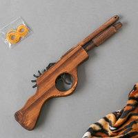 Игрушка деревянная стреляет резинками 'Пистолет' 2,2x27x8 см
