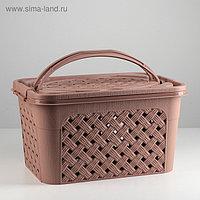 Корзина для хранения с крышкой «Плетёнка. Люкс», 15 л, 39,5×26,5×21 см, цвет коричневый