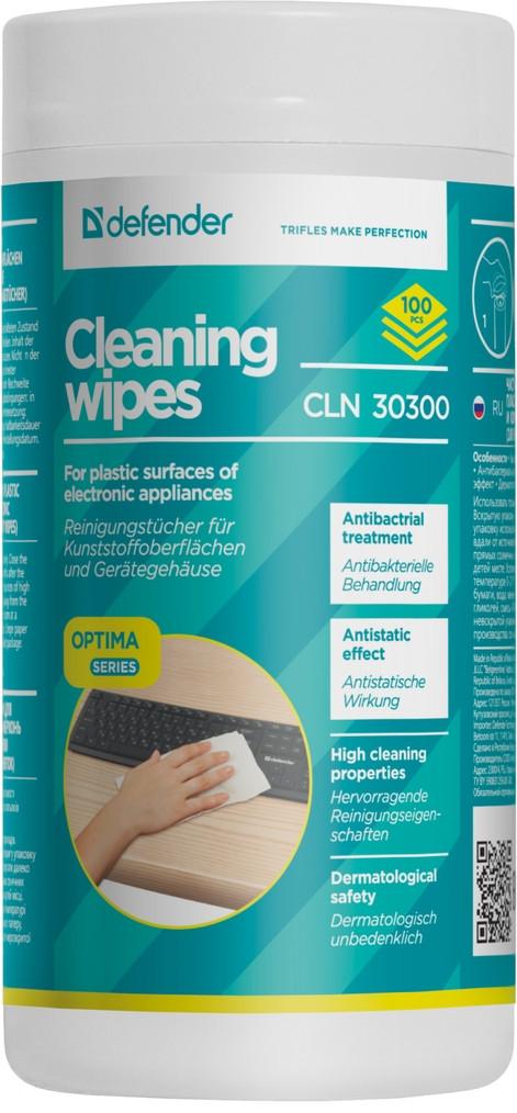 Defender CLN 30300 Чистящие салфетки для пластиковых поверхностей (100 шт)