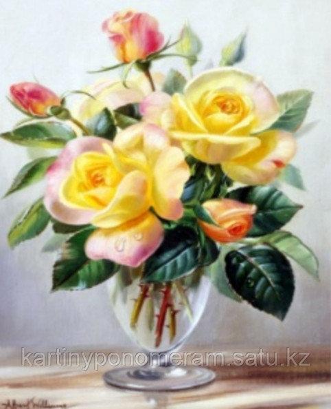 "Картина стразами на подрамнике (40х50 см) ""Желтые розы"" MB-260"
