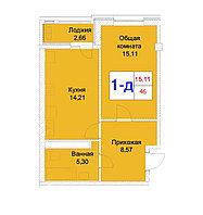 1 комнатная квартира 46 м², фото 1