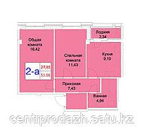 2 комнатная квартира 51.66 м²
