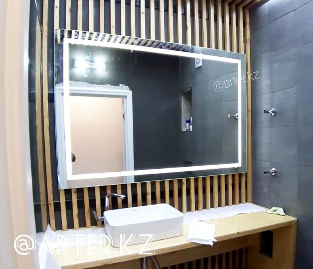 Зеркало с LED-подсветкой и пескоструйным рисунком, 800(В)х1200(Ш)мм