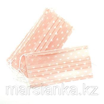Маска Розовая с сердечками Monami, 10 шт