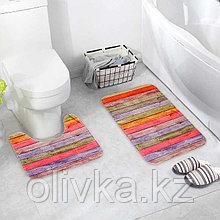 Набор ковриков для ванны и туалета «Цветные деревяшки», 2 шт: 40×45, 45×75 см