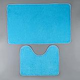 Набор ковриков для ванны и туалета «Пушистик», 2 шт: 40×50, 50×80 см, цвет голубой, фото 2
