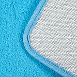 Набор ковриков для ванны и туалета «Пушистик», 2 шт: 40×50, 50×80 см, цвет голубой, фото 3