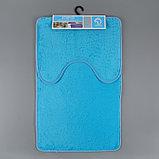 Набор ковриков для ванны и туалета «Пушистик», 2 шт: 40×50, 50×80 см, цвет голубой, фото 6