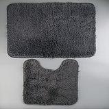 Набор ковриков для ванны и туалета «Курьёз», 2 шт: 40×50, 50×80 см, цвет серый, фото 2