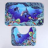 "Набор ковриков для ванны и туалета 2 шт 40х50, 50х80 см ""Морской мир"", фото 2"