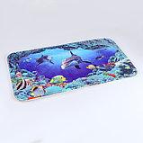 "Набор ковриков для ванны и туалета 2 шт 40х50, 50х80 см ""Морской мир"", фото 3"